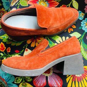 Orange Suede Leather Hush Puppies